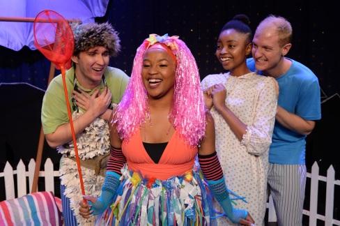 Pic 6 Peter Pan (Danny Meaker), Tinkerbell (Phiphi-Gu'mmy Moletsane), Wendy (Nirvana Nokwe-Mseleku) John (Daniel Kieth Geddes).